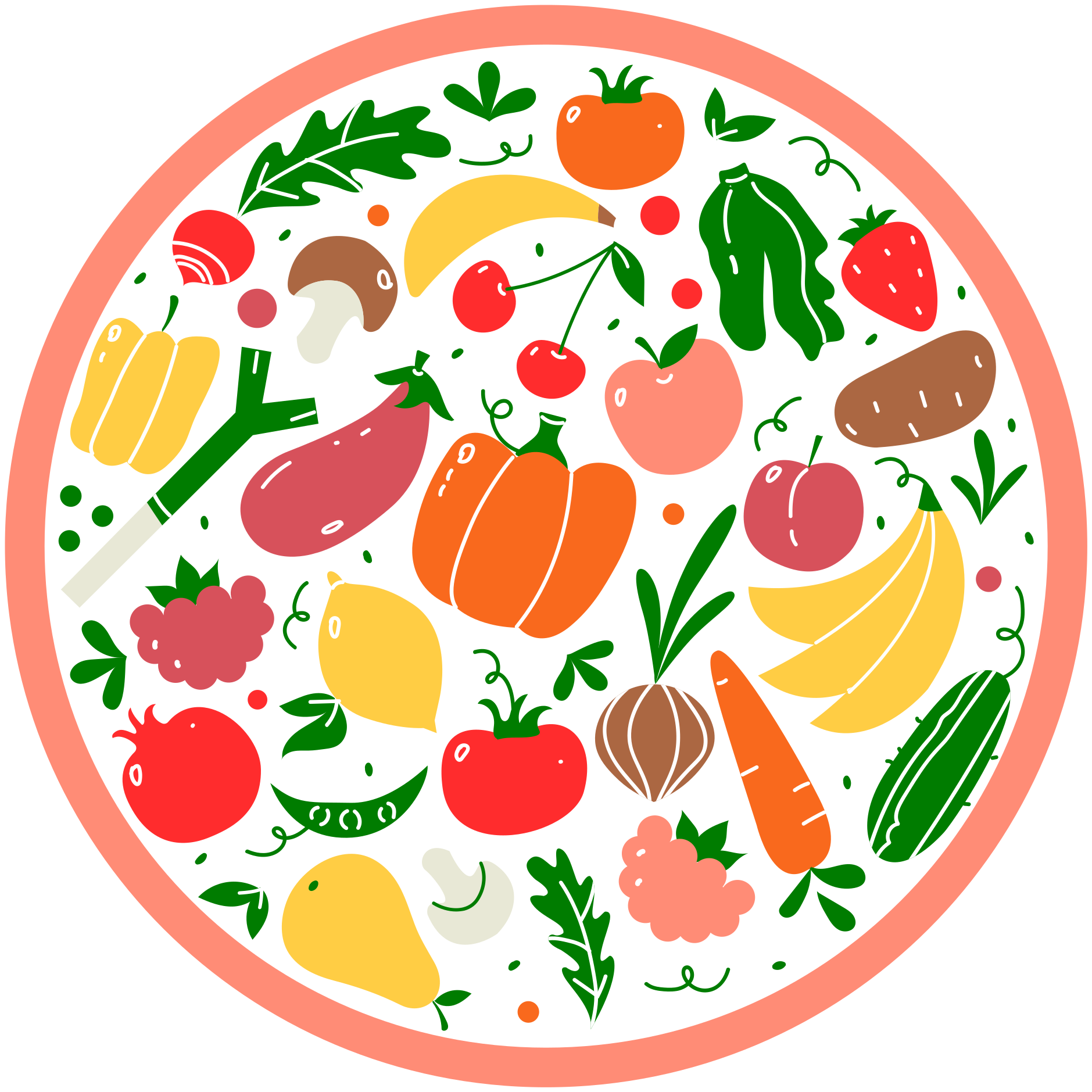 TenStickers. Naadloze groenten patroon keuken vloeren. Naadloze groente patroon vinyl tapijt voor zowel keuken- als eetruimte-decoratie. Op het tapijt staan verschillende soorten fruit.
