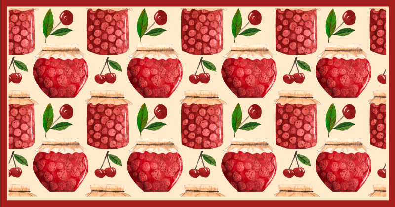 TenStickers. Seamless pattern with jams kitchen flooring. Beautiful kitchen vinyl carpet. It host interesting designs of fruit pots, lovely design to turn your kitchen or dinning space with an amazing look.