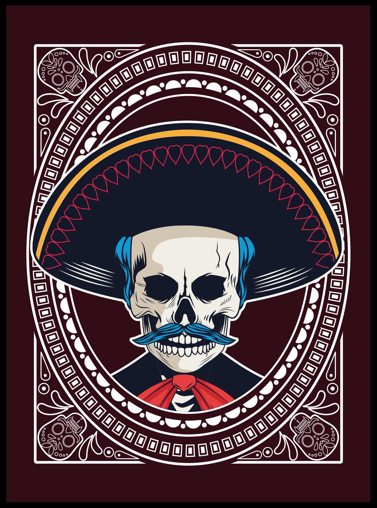 TenStickers. Covoare în stil etnic mexican craniu etnic. Covor fantastic de craniu mexican, perfect pentru decorarea cu un stil etnic mexican. Cea mai bună idee pentru decorarea unei camere sau a casei tale. Vinil anti-bule.