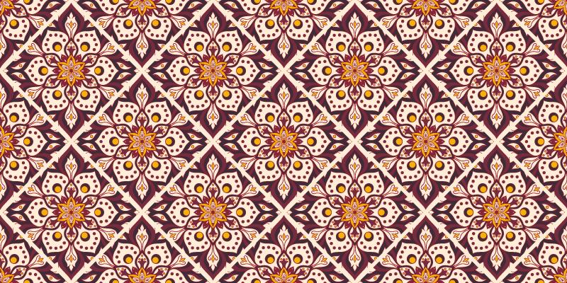TenStickers. tapis vinyl ethnique sticker de mandala vintage. Tapis coloré avec un design de mandalas décoratifs de couleur vin, rose et marron, parfait pour décorer votre maison. Rabais disponibles.