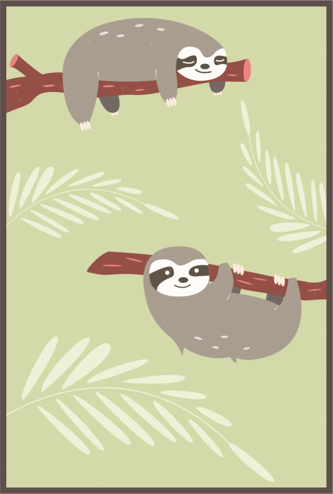 TenStickers. Relaxed sloth animal mat. Are you tired after a long hard day of work or school? Well then get relaxed with this relaxing sloth animal vinyl rug! Order it now to feel relaxed!
