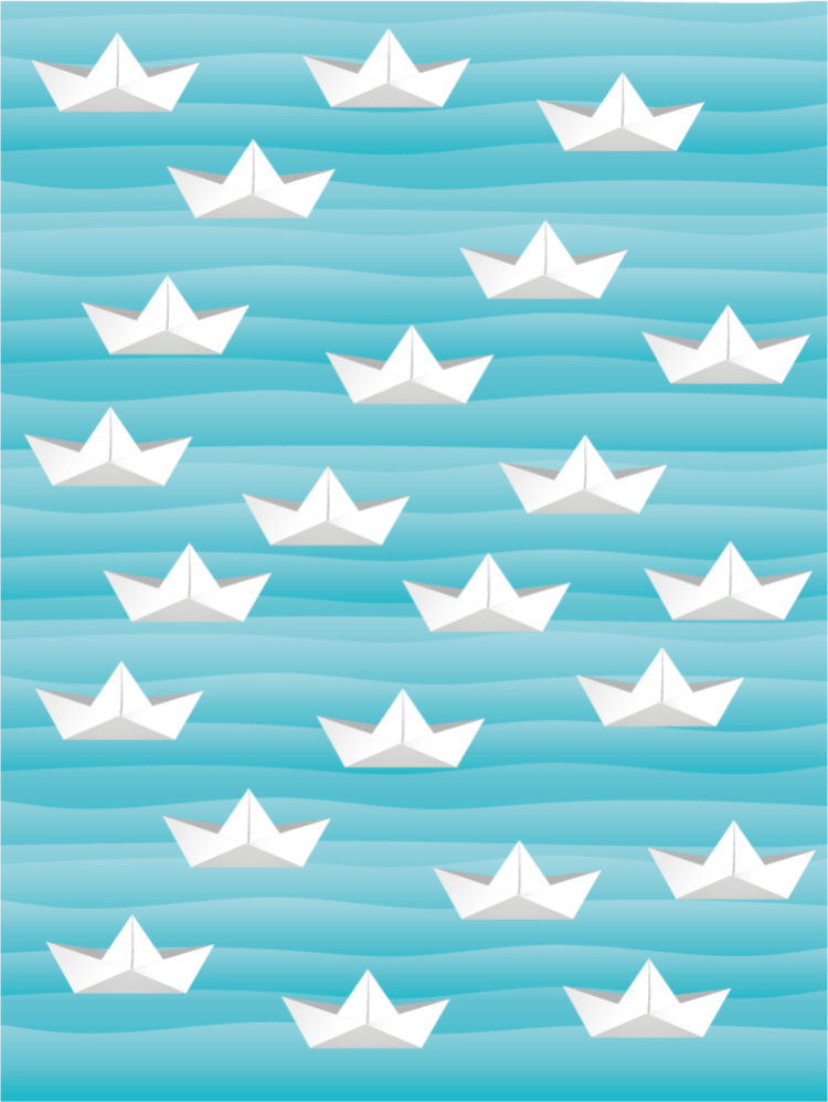 TenStickers. Paper boats kids vinyl carpet. Blue vinyl rug with paper boats, perfect as a solution for your kids bedroom. Easy to clean and store. Made of high quality materials.