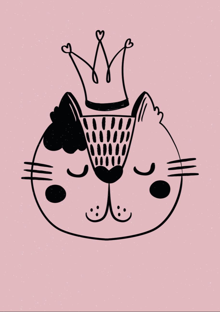 TenStickers. Vinyl vloerbedekking dieren Prinses kat. Prinses kat dierentapijt voor het decoreren van elke kamer, perfect om een mooie uitstraling te geven aan de vloer van u huis als u van katten houdt. Nul residu bij verwijdering.