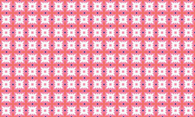 TenStickers. Dywan winylowy Różowe płytki podłogowe. Podłogi winylowe z mozaiką z kolorowych płytek w kwiaty, idealne do wprowadzenia nastroju w Twoim domu dzięki produktowi wysokiej jakości. Winyl antybąbelkowy.