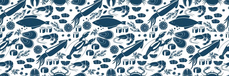 TenVinilo. Alfombra vinílica cocina peces azules. Alfombra vinílica cocina con elementos negros, perfecta para decorar tu cocina. Fácil de limpiar y almacenar ¡Envío exprés!