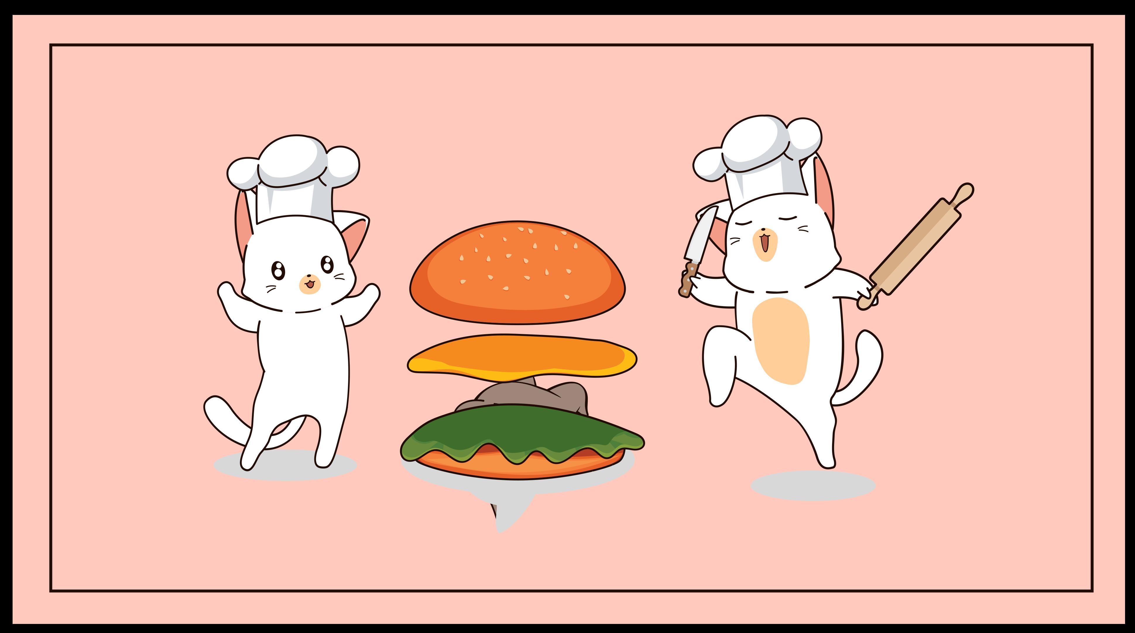 TenStickers. 猫的厨房厨房地板. 粉色乙烯基地毯和猫,非常适合装饰您的厨房。 100%满意,必要时易于清洁和存储。
