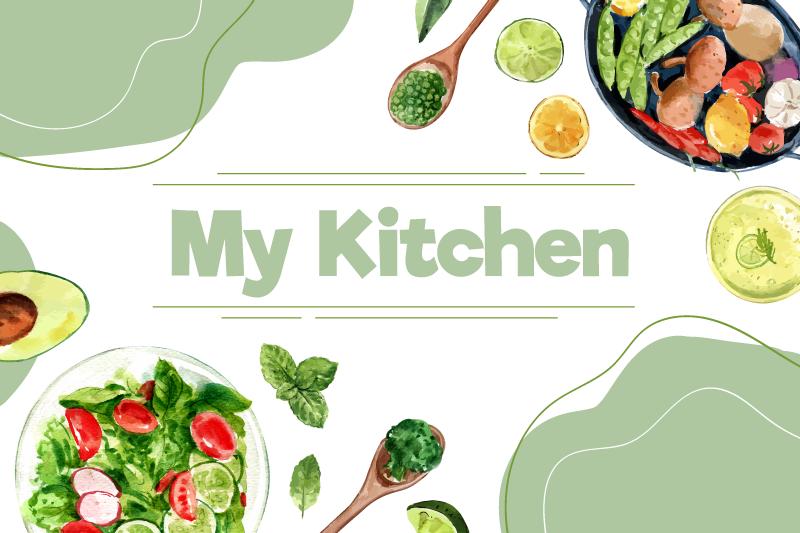 TenVinilo. Alfombra vinilo cocina utensilios con vegetales. Alfombra vinílica cocina con texto mi cocina y vegetales frescos perfecta para decorar tu cocina. Fácil de limpiar ¡Coompra online!