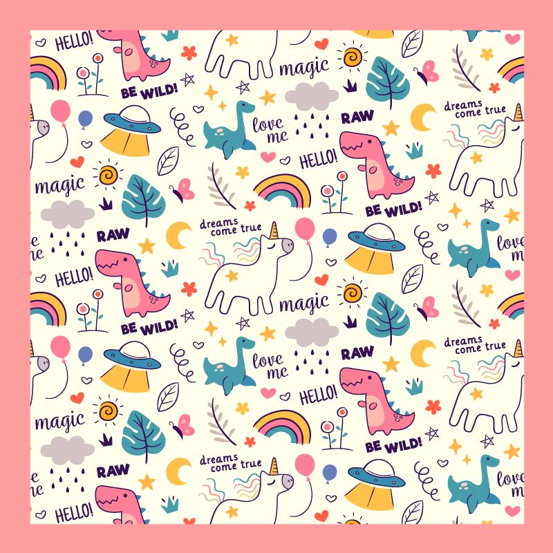 TenStickers. Dieren Eenhoorns gelukkig magisch patroon vinyl vloerkleed. Een eenhoorns vrolijk magisch vinyl vloerkleed om de kamer van uw kind te versieren. Het kleurrijke eenhoorn vinyl vloerkleed is gemaakt van hoge kwaliteit en wordt bij uw thuis afgeleverd.