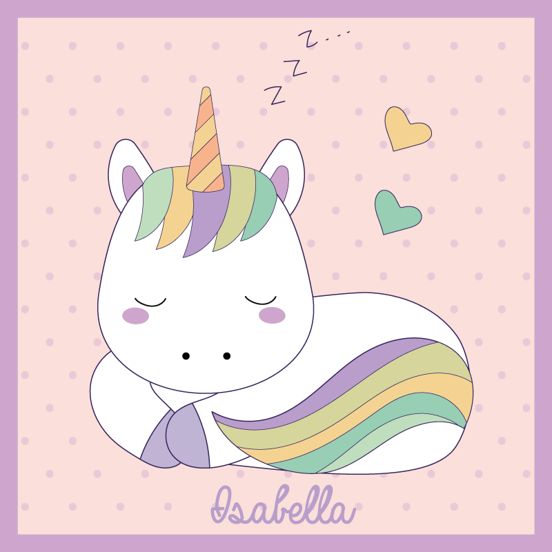 TenStickers. Personalized unicorn on rainbow vinyl mat. Personalize your kid's room with this customizable name sleeping baby unicorn vinyl rug in a light background. Put any name you want!