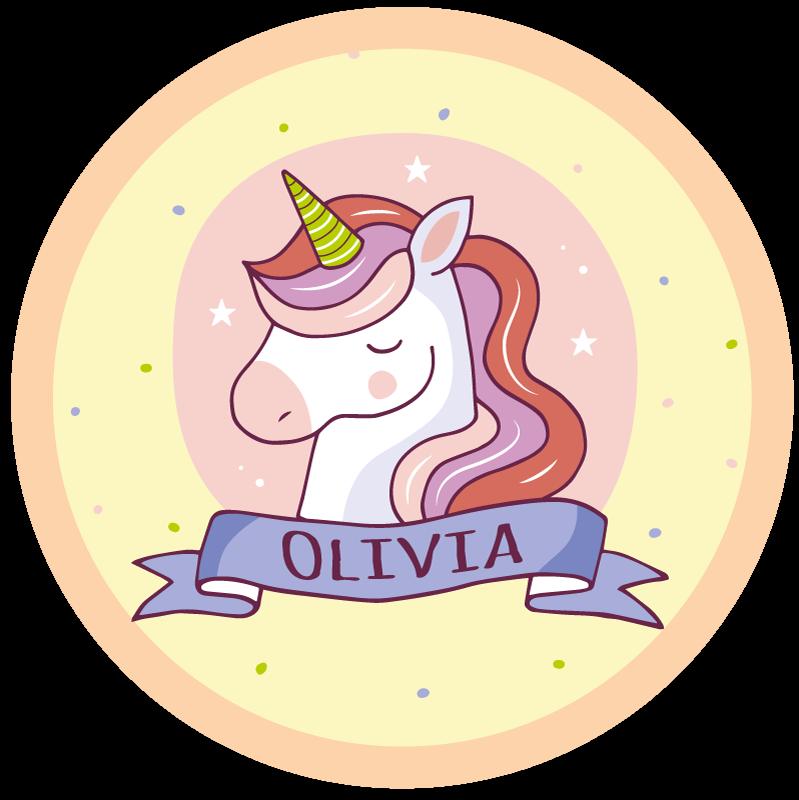 TenStickers. Unicorn cu covor personalizat pentru nume personalizat. Un unicorn cu covor de nume personalizabil perfect pentru a decora camera fetei tale, ea se va simți identificată în camera ei. Zero reziduuri la îndepărtare.