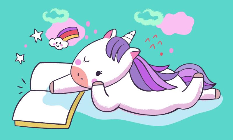 TenStickers. Copil unicorn citind vinil mat. Drăguț unicorn așezat cu covor de carte din vinil cu stele, curcubee și nori. Produsul are o formă dreptunghiulară și vine într-un fundal verde.