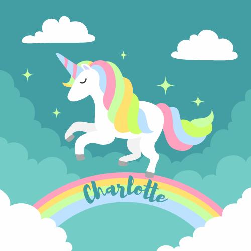 TenVinilo. Alfombra vinilo unicornio arcoíris con nombre . Personaliza la decoración de tus hijos con esta alfombra vinilo unicornio de arcoíris con nombre. Elige las medidas ¡Envío exprés!
