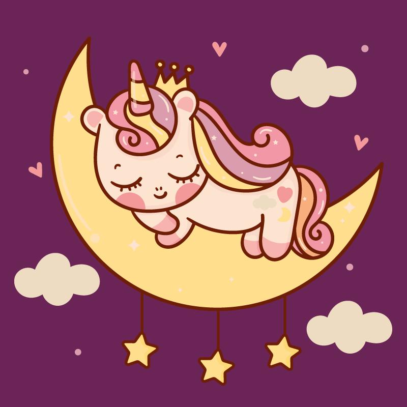 TenVinilo. Alfombra vinilo animal unicornio en luna. Alfombra vinilo animal adorable con unicornio durmiendo en la luna con estrellas y nubes sobre un fondo morado. Variedad de tamaños disponibles