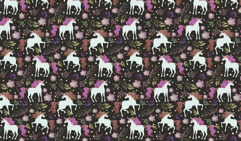 TenStickers. Unicorn with flowers vinyl mat. Beautiful small unicorns pattern vinyl carpet with flowers in diverse colors. This unicorns and flowers vinyl rug comes in a rectangular shape.