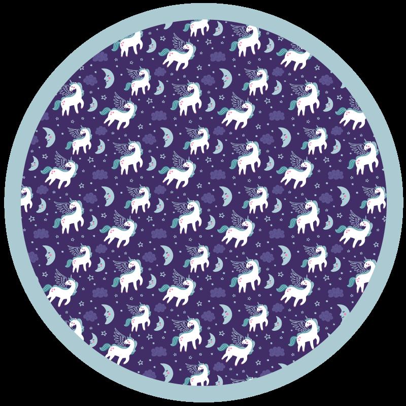 TenStickers. Covor elegant din vinil cu model unicorn. Covor original din vinil cu model unicorn pe fundal violet și formă roșie pentru a decora camera oricărui copil. Realizat la mărimea ta produs!