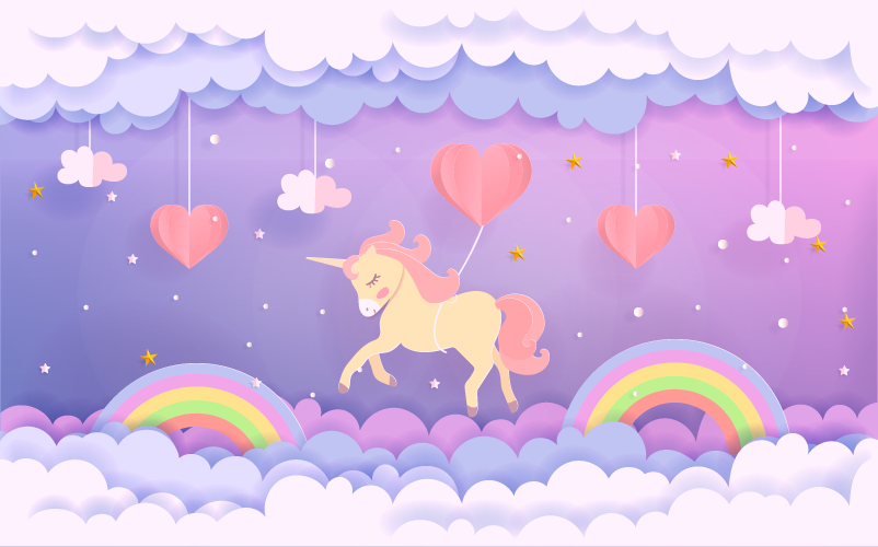 TenStickers. baby unicorn flying with balloons vinyl mat. Cute unicorns and sky elements vinyl carpet in a rectangular shape to decorate your kid's room. Many sizes available for you!
