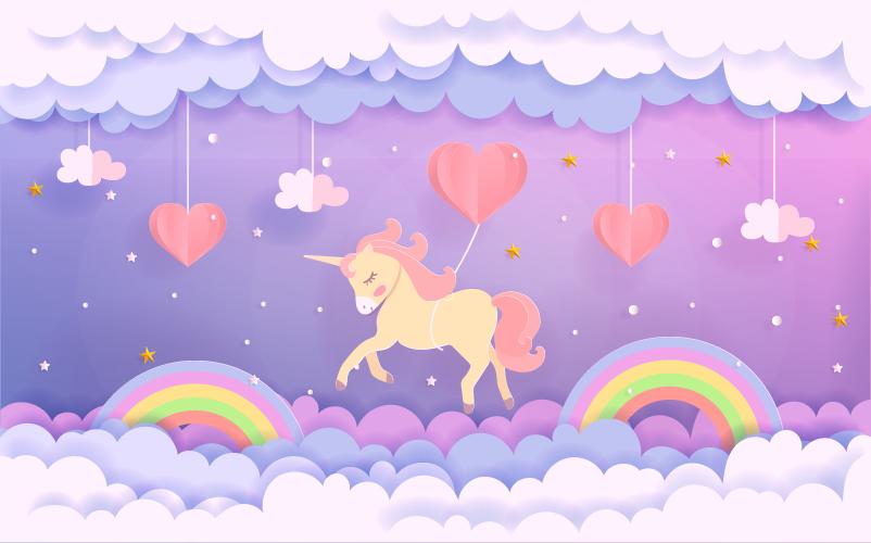 TenVinilo. Alfombra vinilo infantil unicornio en nubes. Alfombra vinilo infantil con unicornios  y elementos del cielo de forma rectangular para decorar la habitación de tus hijos