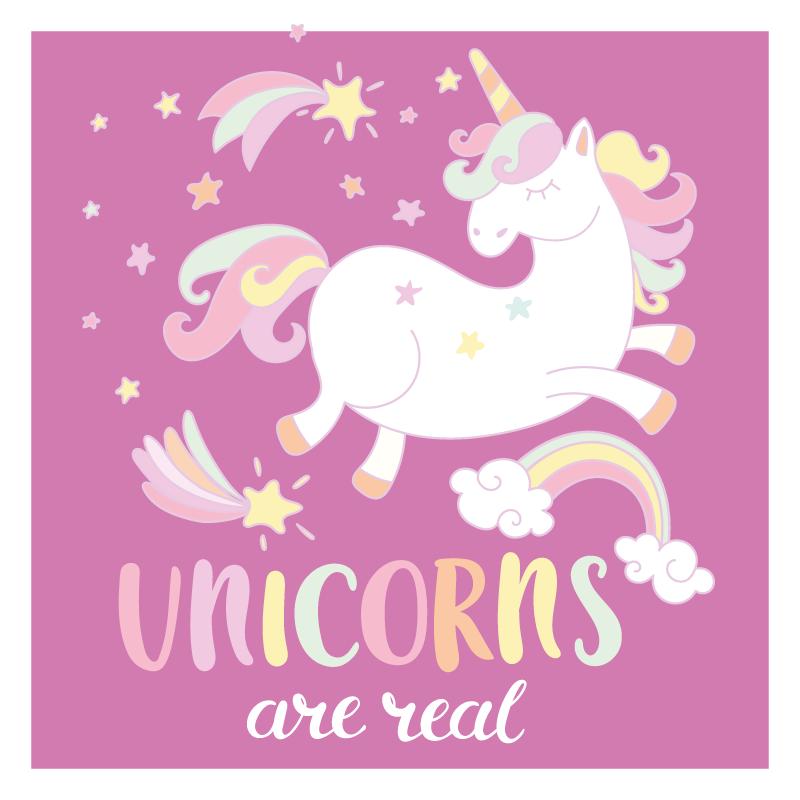 TenStickers. Unicornii sunt reali cu covorașul unicornului pentru animale. Covor cu design de unicorn, acest decor este creat pentru camera copiilor tăi și are unicorni drăguți cu text unicor sunt reale