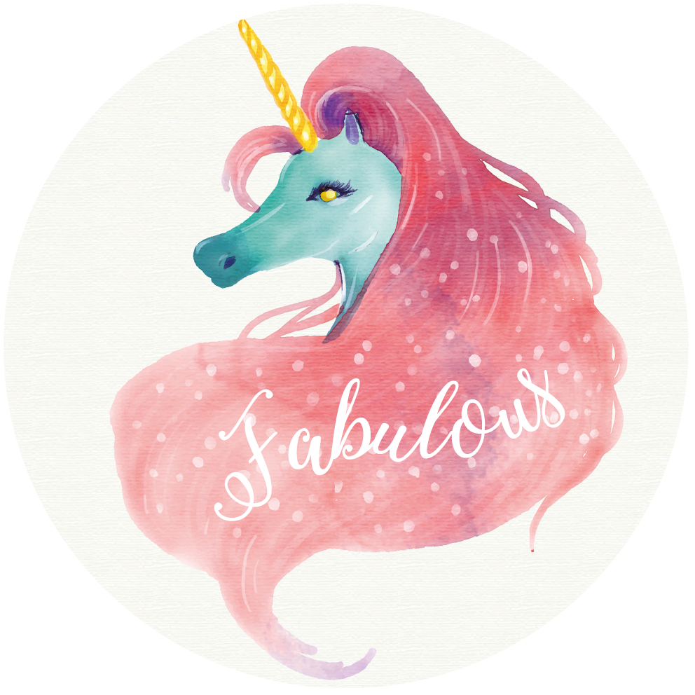 TenStickers. watercolor unicorn background with word fabulous animal mat. Original vinyl rug with design of a unicorn, this decor is created for your children's room and features cute unicorns with the words fabulous