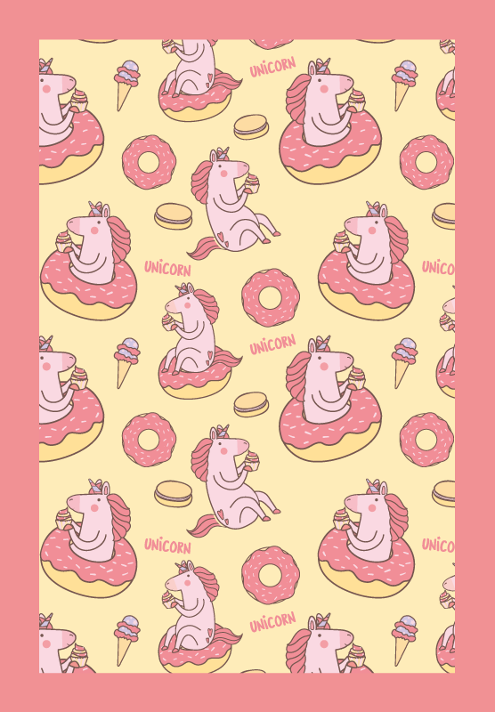 TenStickers. unicorn seamless pattern background animal mat. Vinyl rug with unicorn pattern. It presents cute unicorns hiding in between donuts. Cute decoration for your kids room. Made of high quality vinyl.