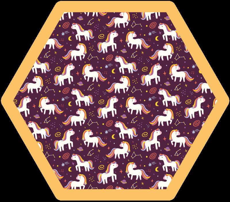 TenVinilo. Alfombra vinilo infantil patrón unicornios. Una alfombra de vinilo para dormitorio con diseño de unicornio de fondo oscuro con una franja amarilla en el borde ¡Envío exprés!