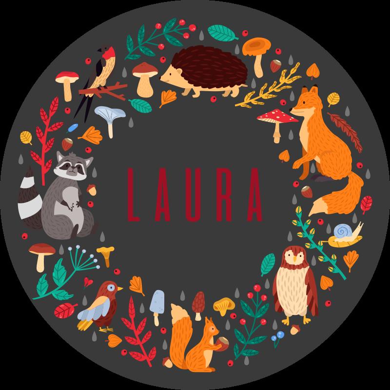 TenStickers. Spersonalizowana mata winylowa Leśne zwierzęta. Piękny, kojący dywan winylowy z niesamowitym i kolorowym wzorem dzikich zwierząt. Odpowiedni dywanik podłogowy do kuchni, sypialni i każdego innego pomieszczenia.