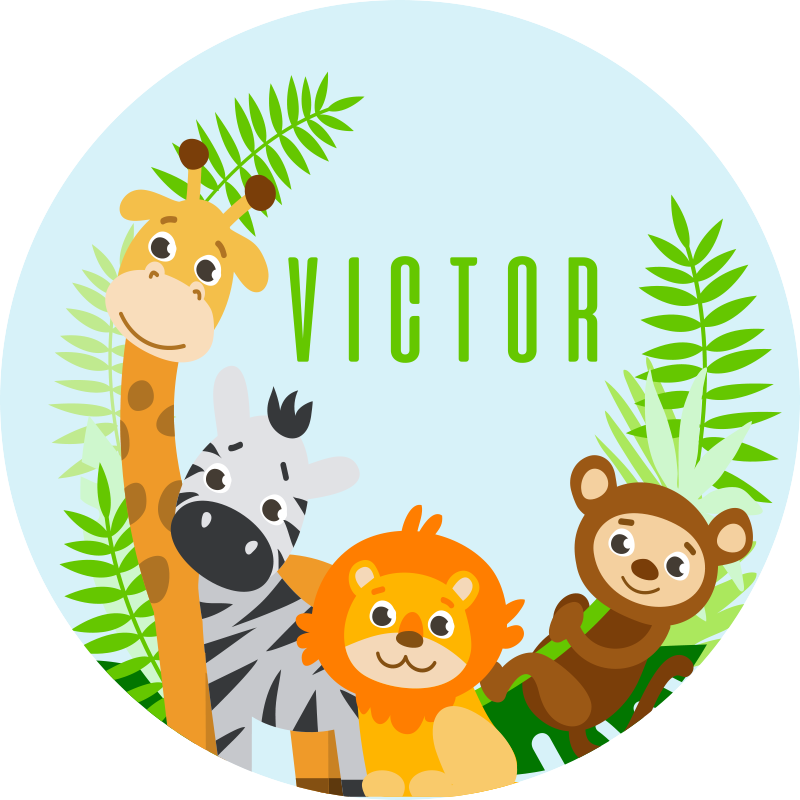 TenStickers. Customizable animals  personalised vinyl rug. Jungle animals vinyl rug, great as a decoration for your kids room. Easy to clean and store. Made of high quality vinyl.