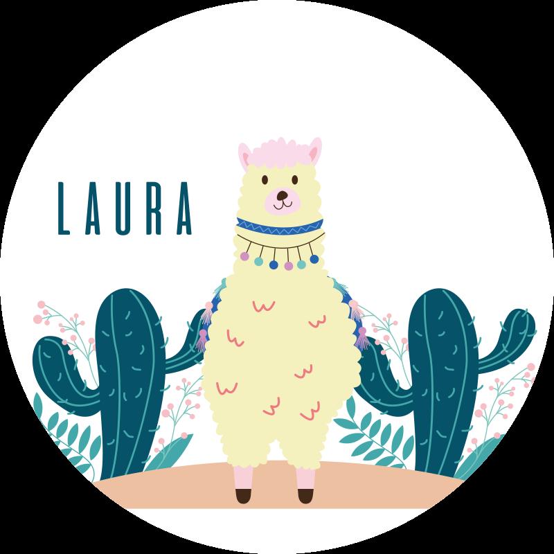 TenStickers. Tappeto in vinile nome Lama e cactus personalizzabili. Tappeto in vinile con un lama e un nome, ottimo come decorazione per la tua stanza. Facile da applicare e da pulire. Realizzato in vinile di alta qualità.