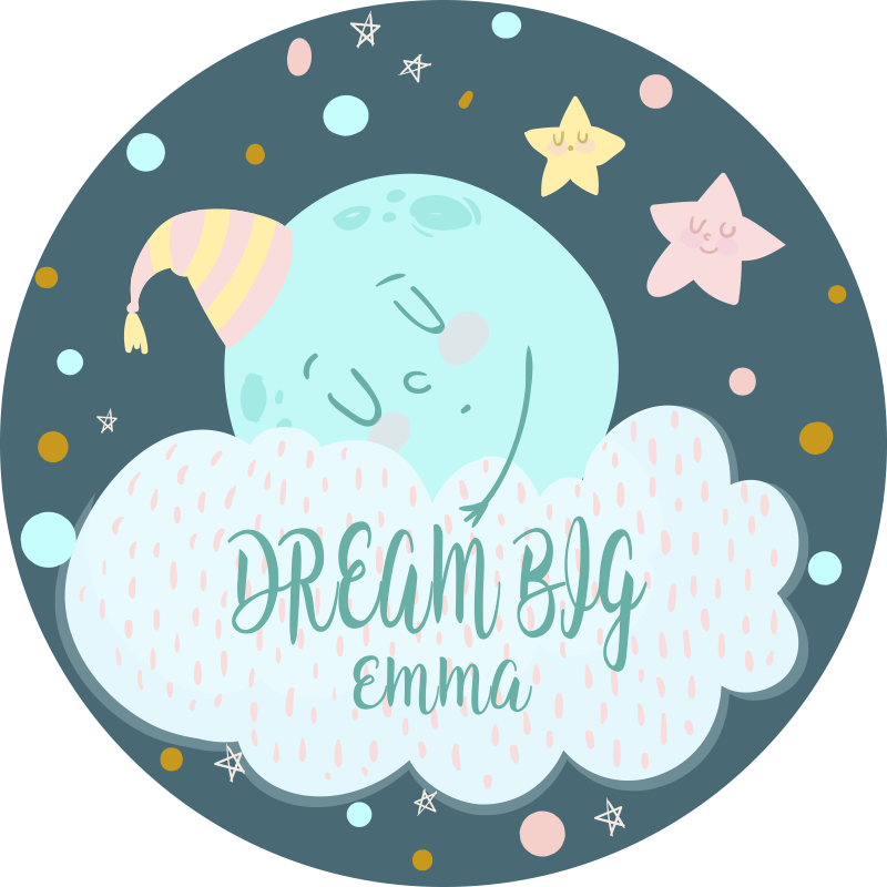 TenVinilo. Alfombra vinilo con nombre soñar en grande . Alfombra vinílica infantil de luna durmiente con un nombre, ideal como regalo personalizado para su hijo ¡Compra online ahora!