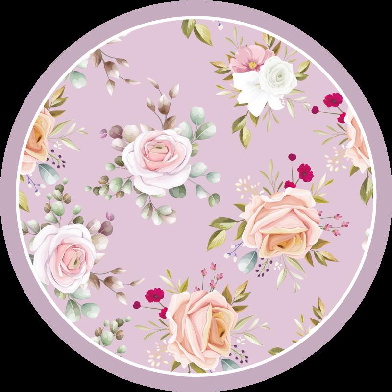 TenStickers. 粉色花纹卧室地毯. 对于喜欢在房子和装饰中的花朵的任何人来说,这款带有粉红色花朵图案的乙烯基地毯都是必须的。有了这个设计,它的超级。