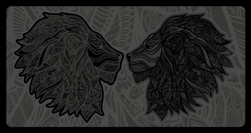 TenVinilo. Alfombra vinilo animales batalla leones. Alfombra vinilo animales con estampados de dos leones en el campo de batalla. Diseño elegante de color negro para ti ¡Compra online!