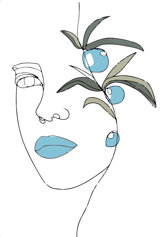 TenVinilo. Alfombra vinilo olivo dibujando cara. Añada un toque de elegancia a su espacio con esta sencilla pero bonita alfombra vinilo blanca con motivos florales ¡Compra online!