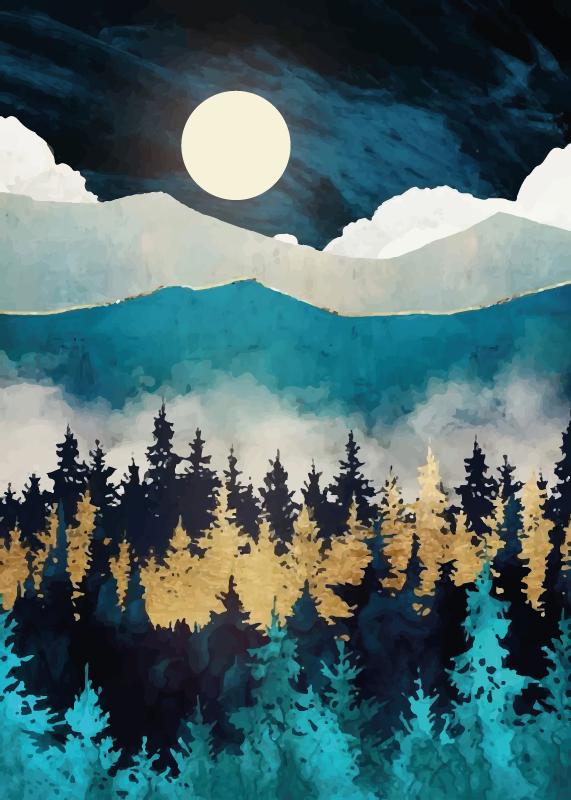 TenVinilo. Alfombra vinilo dormitorio niebla atardecer. Diseño de alfombra vinilo habitación de niebla nocturna para decorar tu hogar de una manera divertida e interesante ¡Compra online!