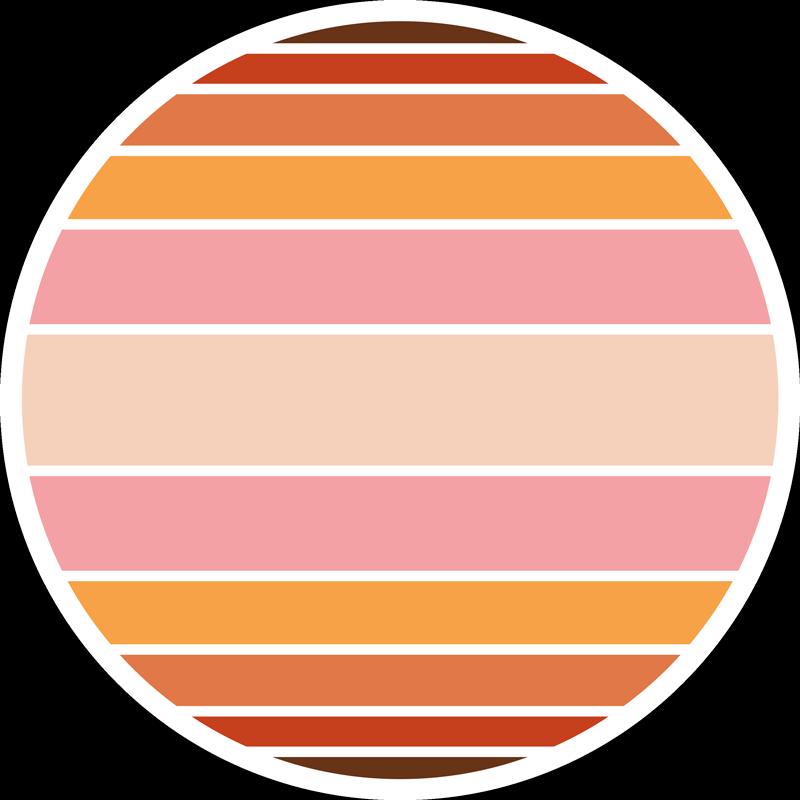 TENSTICKERS. 70年代の太陽の輪の幾何学的なビニールカーペット. あなたの家をオリジナルでカラフルに見せるためのカラフルなストライプのサンビニールラグ。丸い形の製品には多くのサイズがあります。