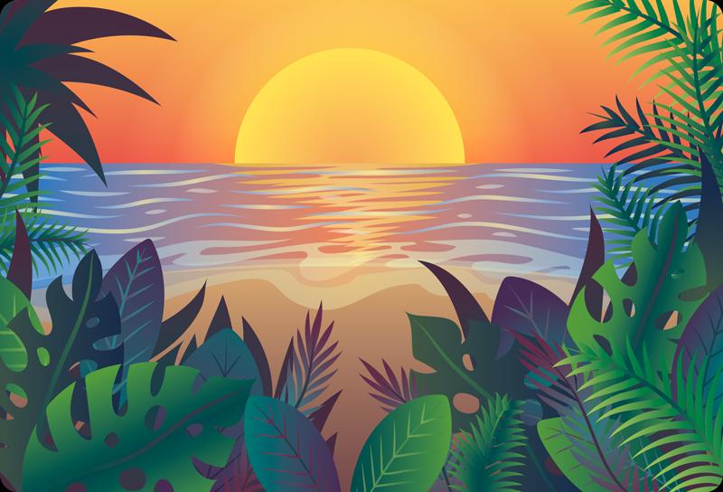 Tenstickers. Retro sol strand naturteppe. Få sommervibben tilbake med dette retro vinylteppet i solnedgangen. Dette designet er veldig enkelt å rengjøre hvis du bruker vanlig vann og såpe. Kjøp nå!
