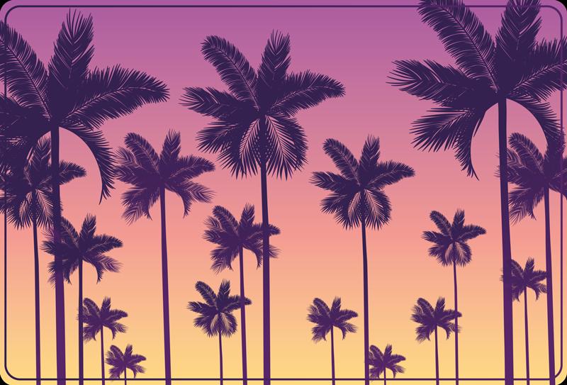 TenStickers. Apus de soare palmieri natura covor. Obțineți cel mai tare și mai elegant covor din vinil de palmier apus de soare pe care site-ul nostru web îl poate oferi astăzi și primiți-l în curând! Ușor de spălat și măturat. Cumpără-l azi!