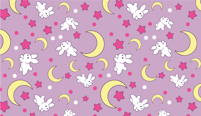 TenStickers. Anime rabbits and moons animal mat. Your children will not be able to help but fall in love with this vinyl rug! It offers a cute bunny and moon perspective.