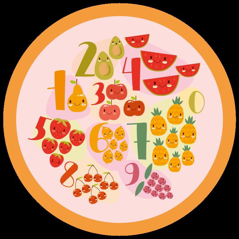 TenStickers. Tapete de estrada educacional de números de estrada. Tapete de vinil com frutas e vegetais. Perfeito como decoração de cozinha. Fácil de limpar e armazenar. Feito de materiais de alta qualidade.