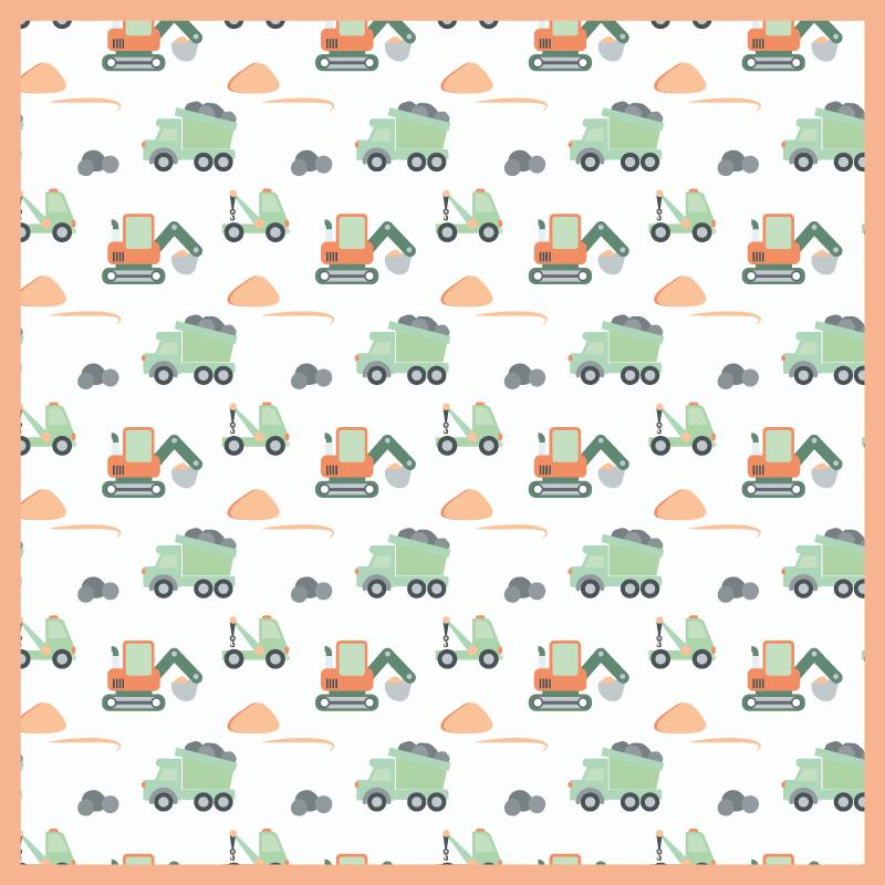 TenStickers. Vinyl vloerbedekking verschillende bouw voertuigen . Vinyl vloerkleed met bouw voertuigen, perfect als decoratie voor de kinderkamer. Gemakkelijk schoon te maken en op te bergen. Gemaakt van hoogwaardige materialen.