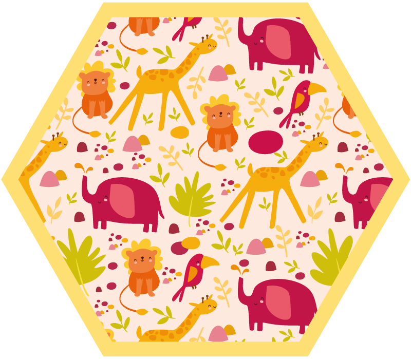 TenStickers. αφρικανικά άγρια ζώα παιδικά χαλί βινυλίου. εκπλήξτε το παιδί σας με αυτό το χαριτωμένο χαλί βινυλίου με αφρικανικά άγρια ζώα στο δωμάτιό του. υπέροχη συλλογή σχεδίων για το παιδί σας.