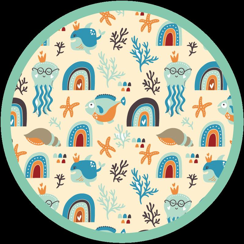 TenStickers. Vinyl vloerbedekking zee figuren. Dit prachtige ronde vinyl tapijt voor kinderen staat fantastisch in de kamer van uw dochter of in de kinderkamer! Het heeft een onderwaterwereld.