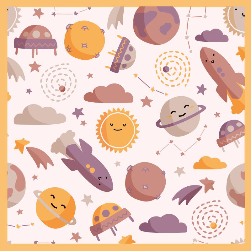 TenStickers. Tappeto in pvc per bebé Pianeti sorridenti dei cartoni animati. Disegni carini per la stanza del tuo bambino. Un tappeto in vinile con motivo spaziale sorridente pianeti. Si presenta in una forma quadrata e puoi scegliere la dimensione che desideri.
