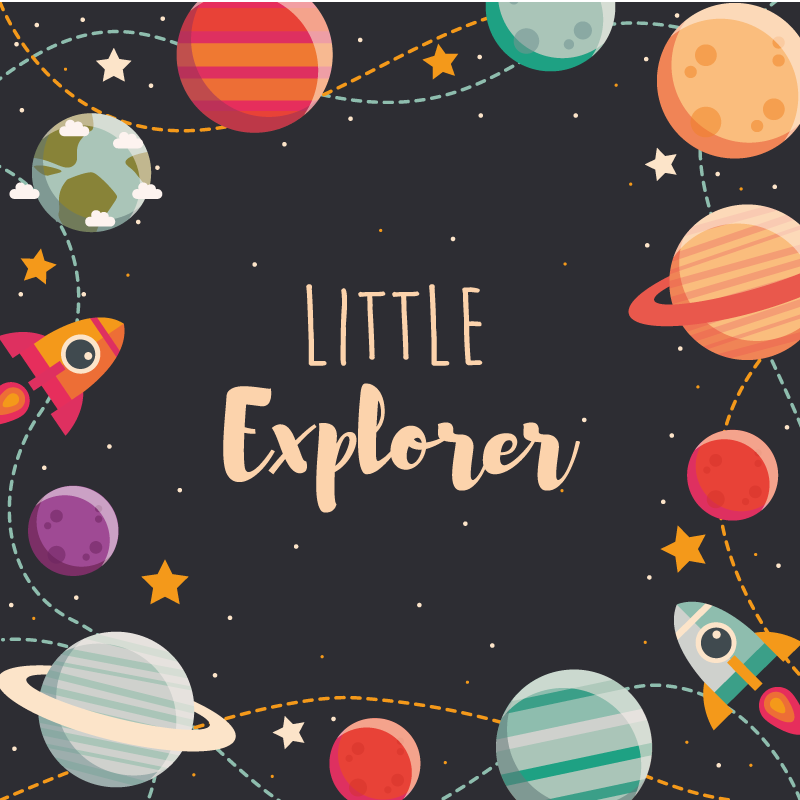 TenStickers. Custom outer space explorers kids vinyl carpet. Make your kid feel like a little explorer with this black background planets vinyl rug with the text little explored. Square shape!