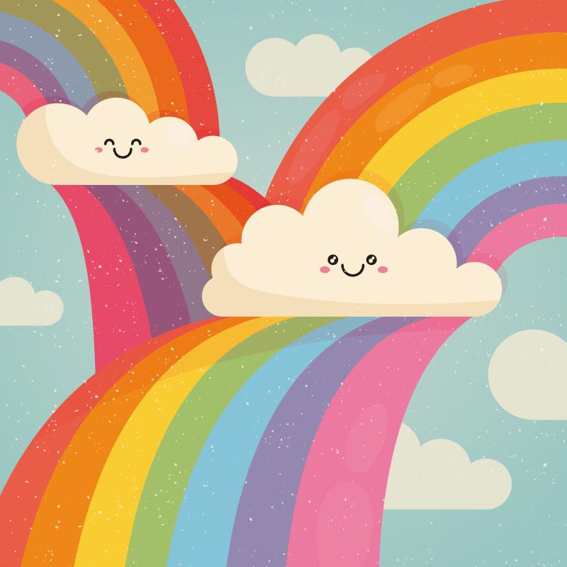 TenStickers. Covor de vinil curcubeu în nori. Pune un zâmbet pe fața copilului tău cu acest uimitor nor noroc și curcubeu în cerul din vinil. Formă pătrată în multe dimensiuni!