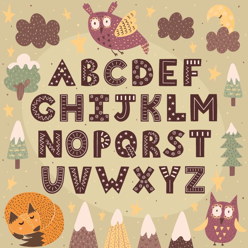 TenStickers. Vinyl vloerbekleding Alfabet Cartoon vos alfabet. Ons educatieve vinyl vloerkleed voor kinderen is een product dat geen enkel kind zou moeten missen! Hiermee kan uw kind leren terwijl het plezier heeft! Onderwijs nu!