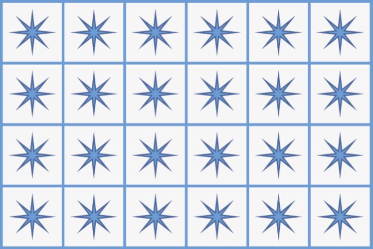 TenStickers. 平铺的星星瓷砖垫. 带有蓝色星星瓷砖的乙烯基地毯,非常适合作为您厨房的装饰。易于清洁和储存。 100%满意。自己检查一下。
