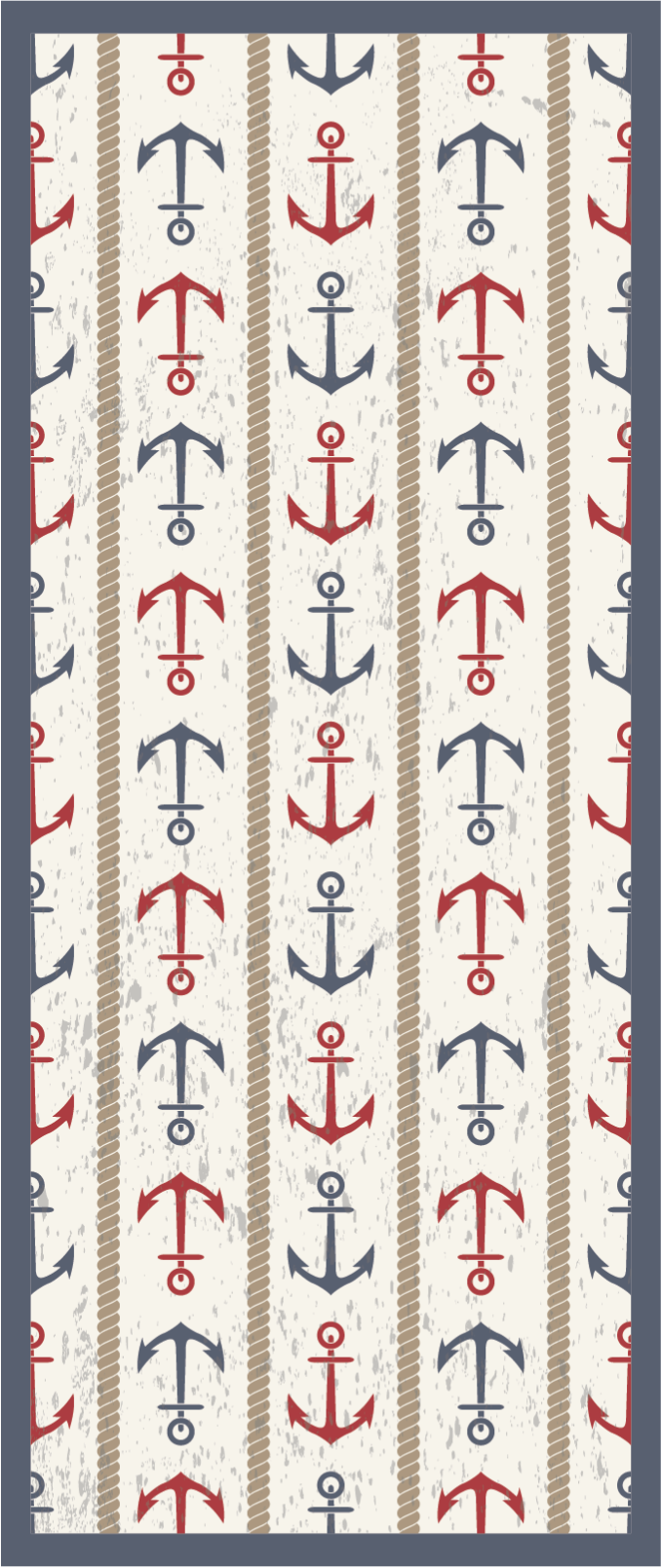TenStickers. Tapete de vinil retrô com tema náutico. Tapete de vinil original com âncoras vermelhas e azuis sobre um fundo claro para dar a qualquer espaço que você deseja um visual único e fantástico.