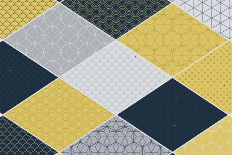 TenStickers. 黄色图案的线条几何乙烯基地毯. 黄色和灰色的几何图形矩形乙烯基地毯,可为您想要的任何空间提供现代典雅的感觉。选择您想要的任何尺寸!