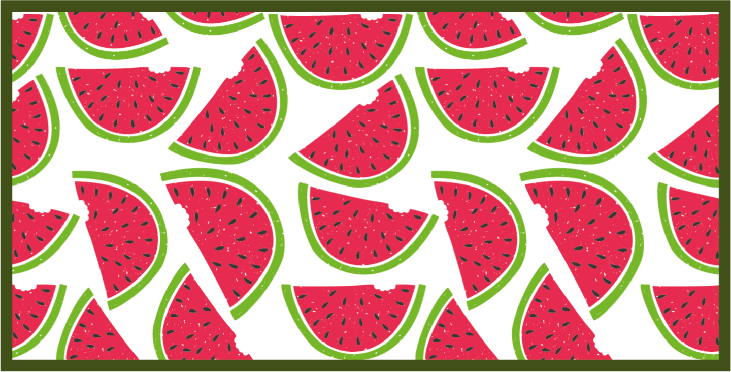 TenStickers. Watermelon themed contemporary vinyl carpets. A lovely watermelon vinyl rug cut in half to decorate your kitchen. The product has a rectangular shape in a light background.