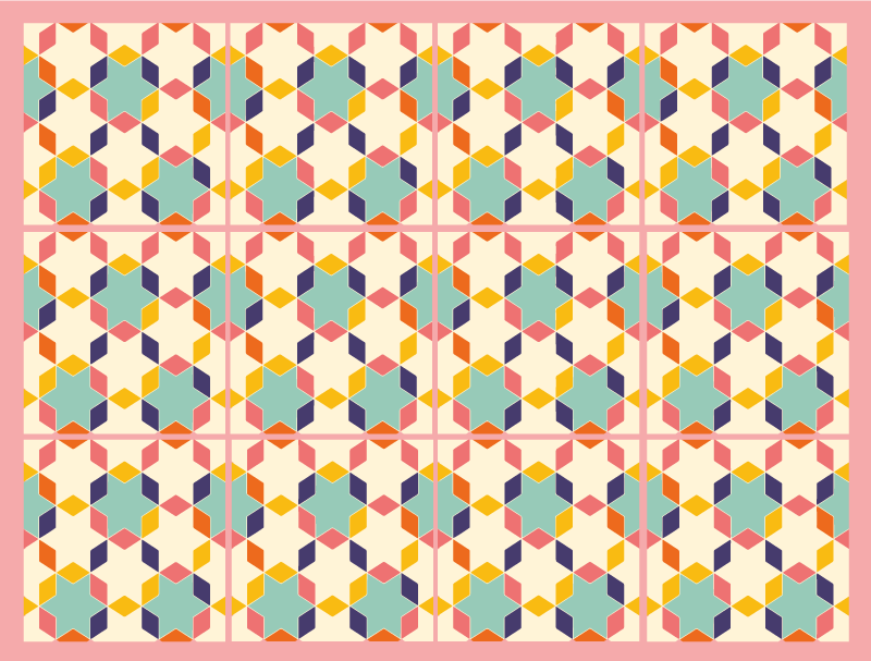 TenStickers. Colorful vintage tiles tile mat. A vinyl colorful tile mat full of colours capable of filling your room with joy and vintage effect to decorate your home. Easy to apply.